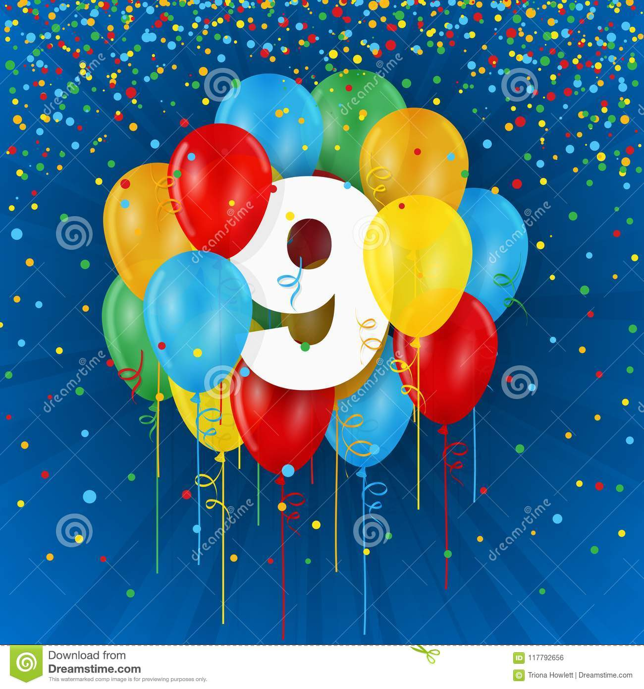 Happy 9th Birthday Anniversary Card With Balloons Stock Illustration Illustration Of Note Vector 117792656