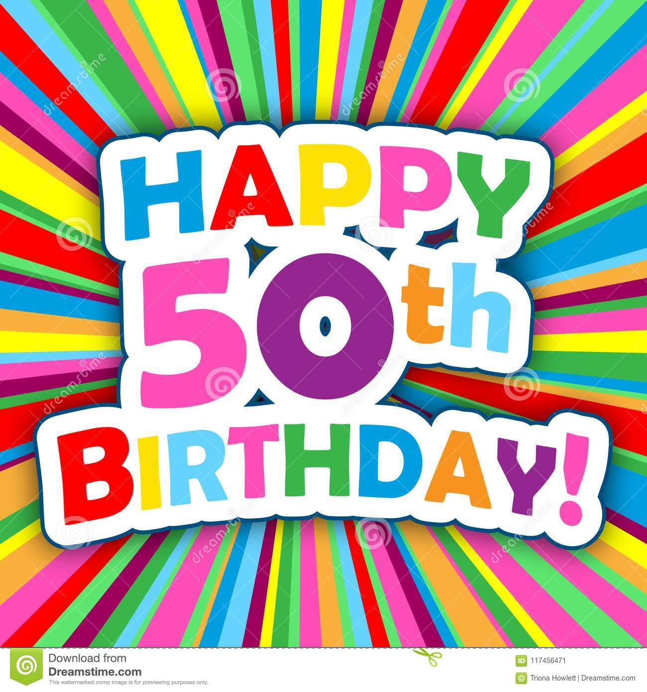 Happy 50th Birthday Card On Colorful Vector Background Stock Illustration Illustration Of Friends Card 117456471