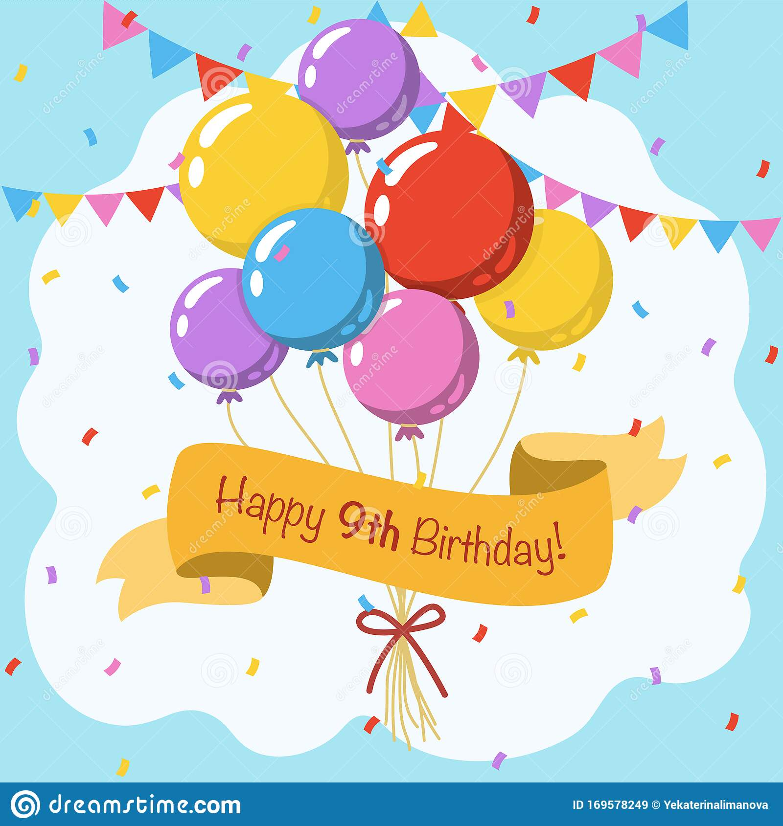 Happy 9th Birthday Colorful Vector Illustration Greeting Card Stock Vector Illustration Of Balloons Ceremony 169578249