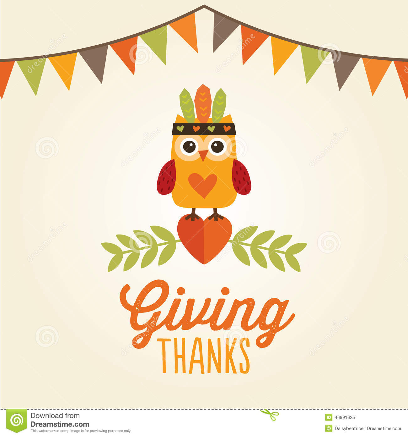 Happy Thanksgiving Card Owl Cute Costume Giving Thanks