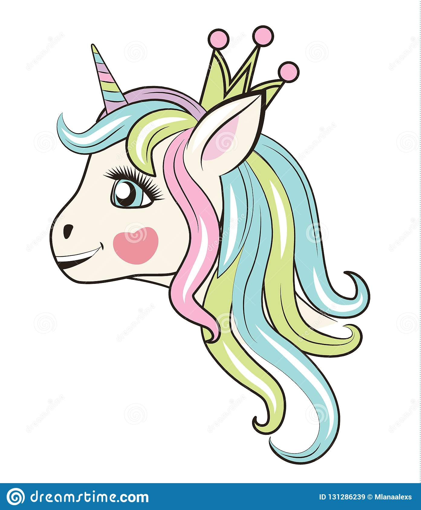 Happy Unicorn Head With Crown Can Be Used For Baby T