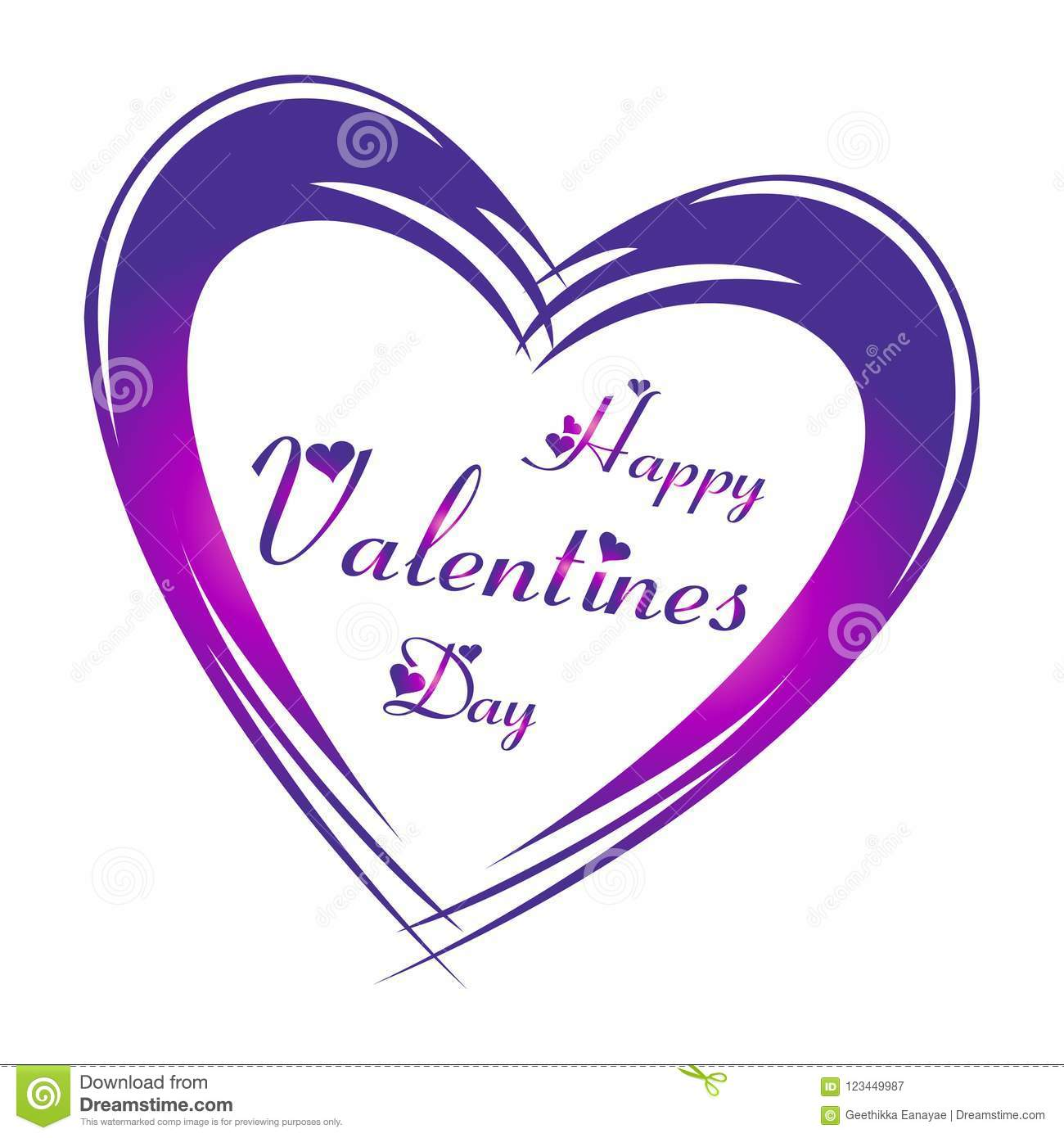 Happy Valentine S Day In Purple Color Lettering With Heart Shapes And Big Purple Heart Around