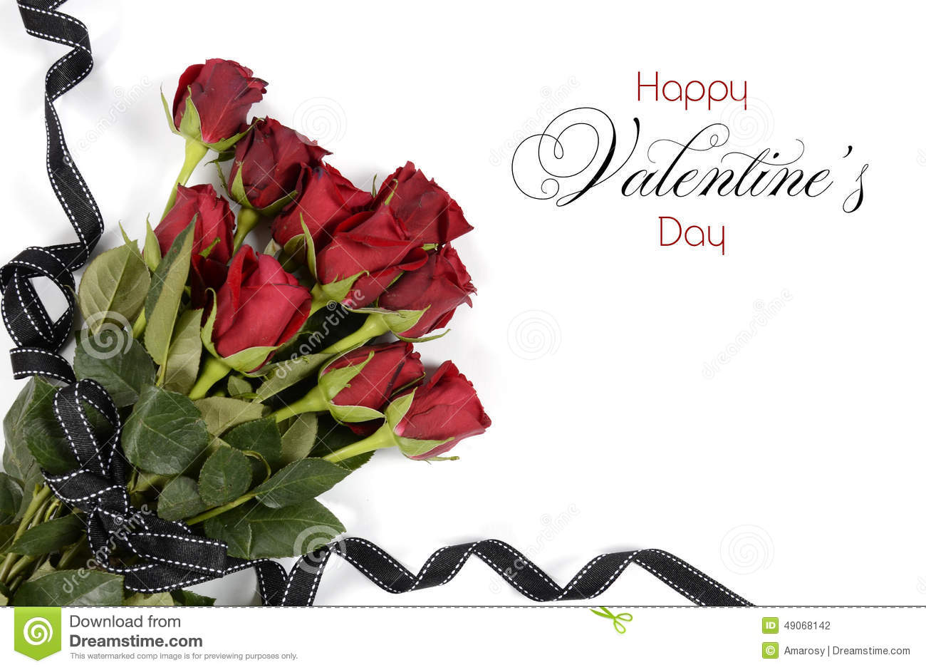 Happy Valentines Day Bouquet Of Red Roses Stock Photo Image 49068142