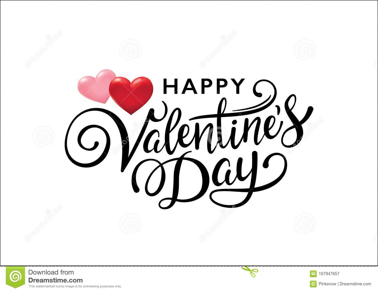 Happy Valentines Day Lettering Design With 3d Hearts Stock