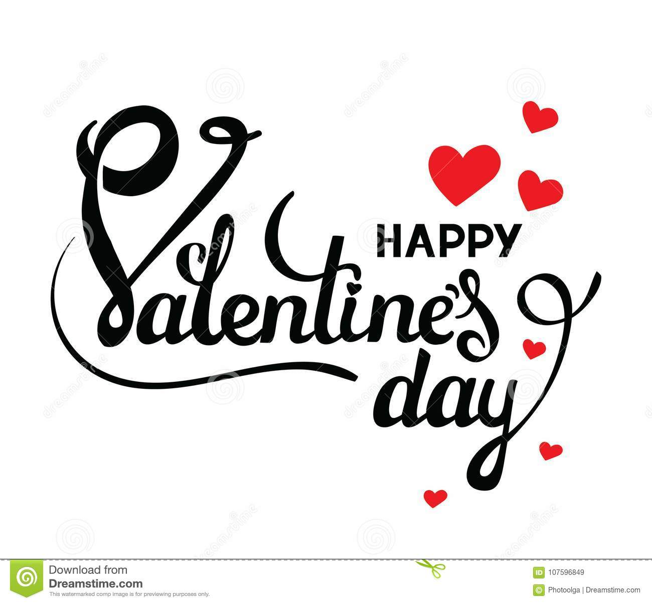 Happy Valentines Day Vector Card With Handwritten