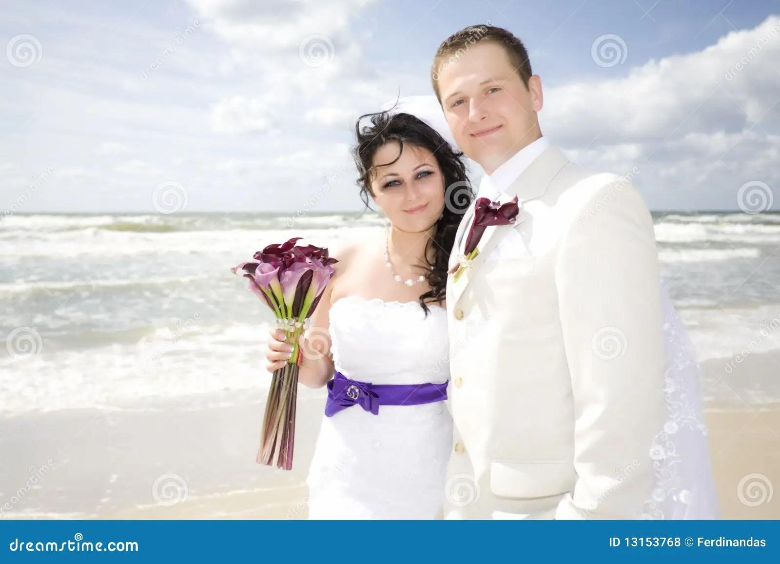Happy Wedding Couple High Key Seashore Stock Photo
