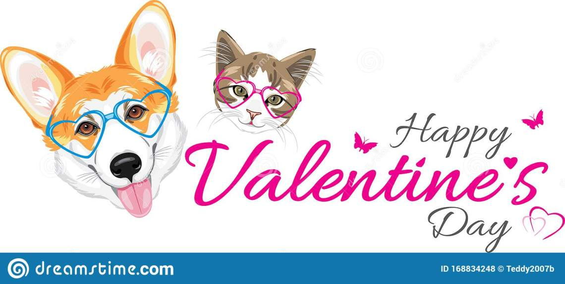 Download Happy Welsh Corgi And Cute Cat In Glasses Heart Shaped ...