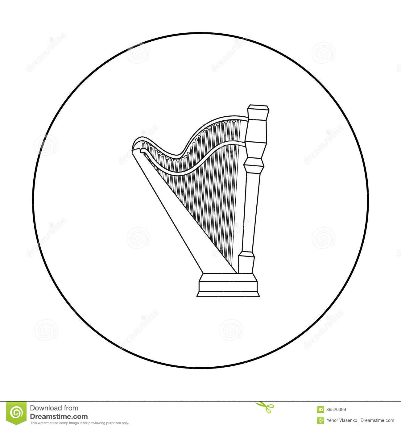 Harp Icon In Outline Style Isolated On White Background