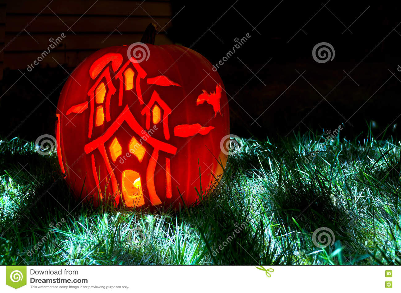 Haunted House Pumpkin Carving Stock Image