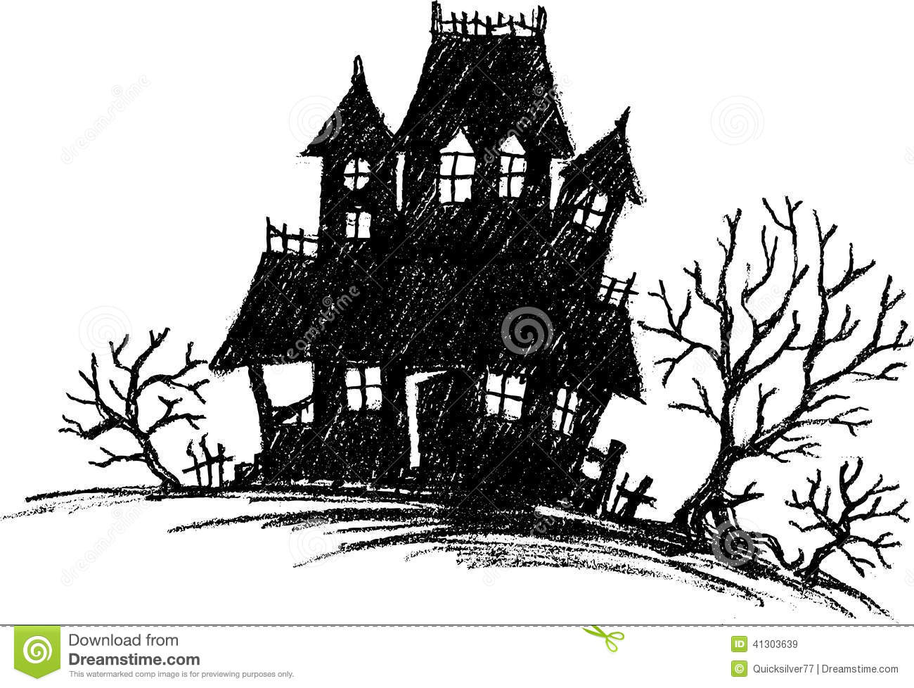 Haunted House Sketch Stock Vector
