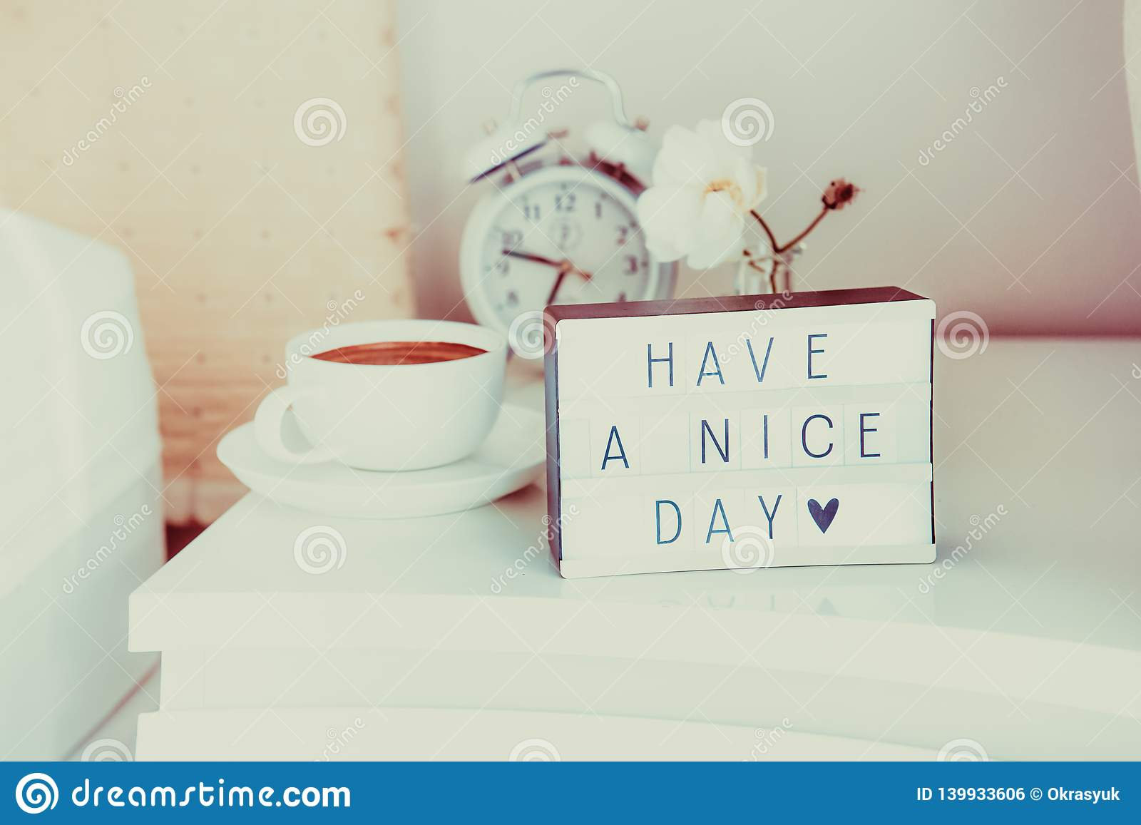 Have A Nice Day Message On Lighted Box Alarm Clock Cup Of Coffee