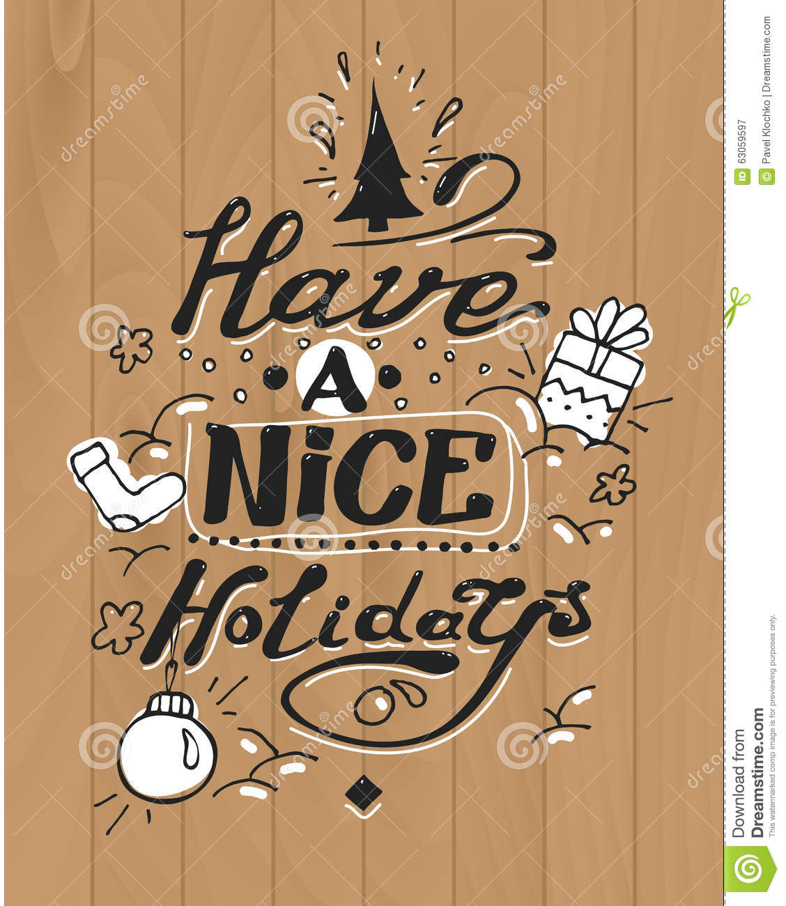 Have A Nice Holidays Greeting Card Lettering And Stock