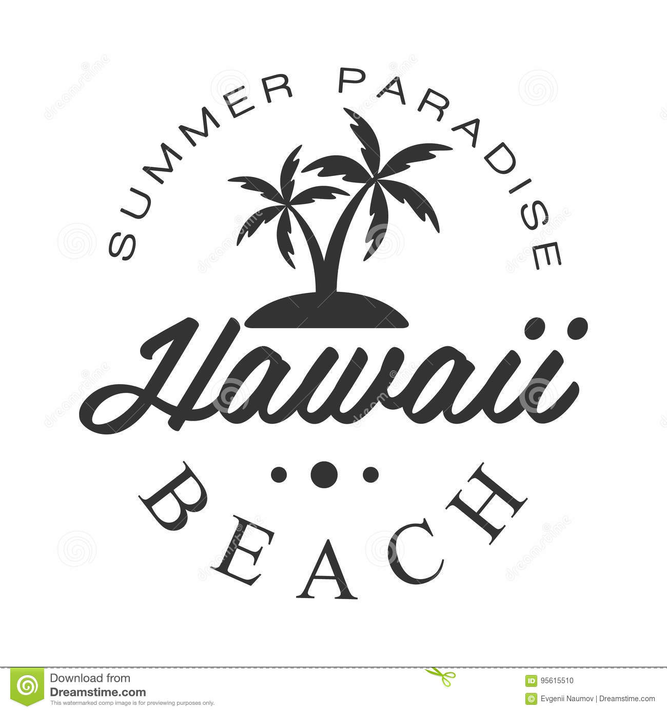 Hawaii Beach Summer Paradise Logo Template Black And