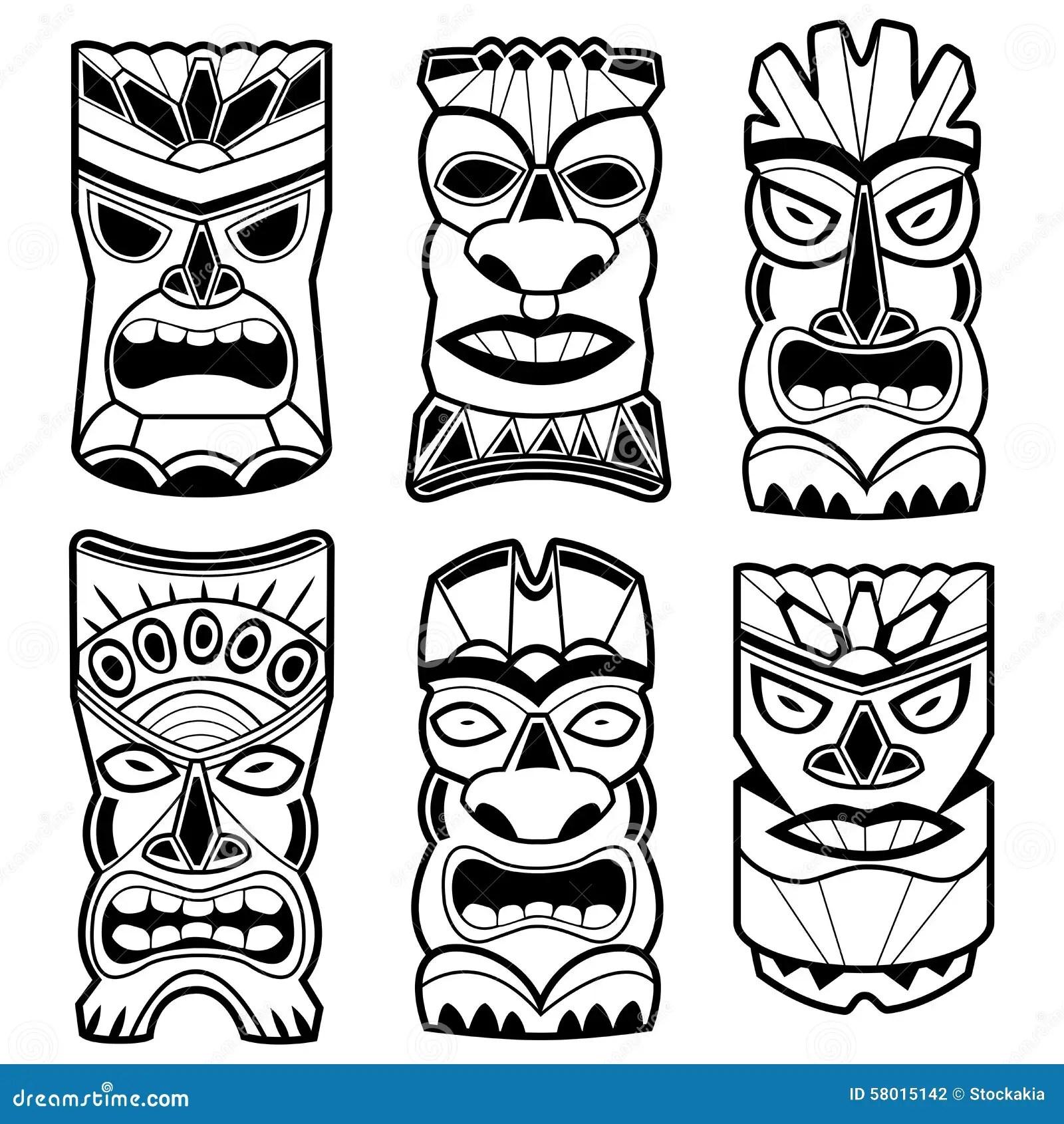 Hawaiian Tiki Statue Masks Black And White Set Stock