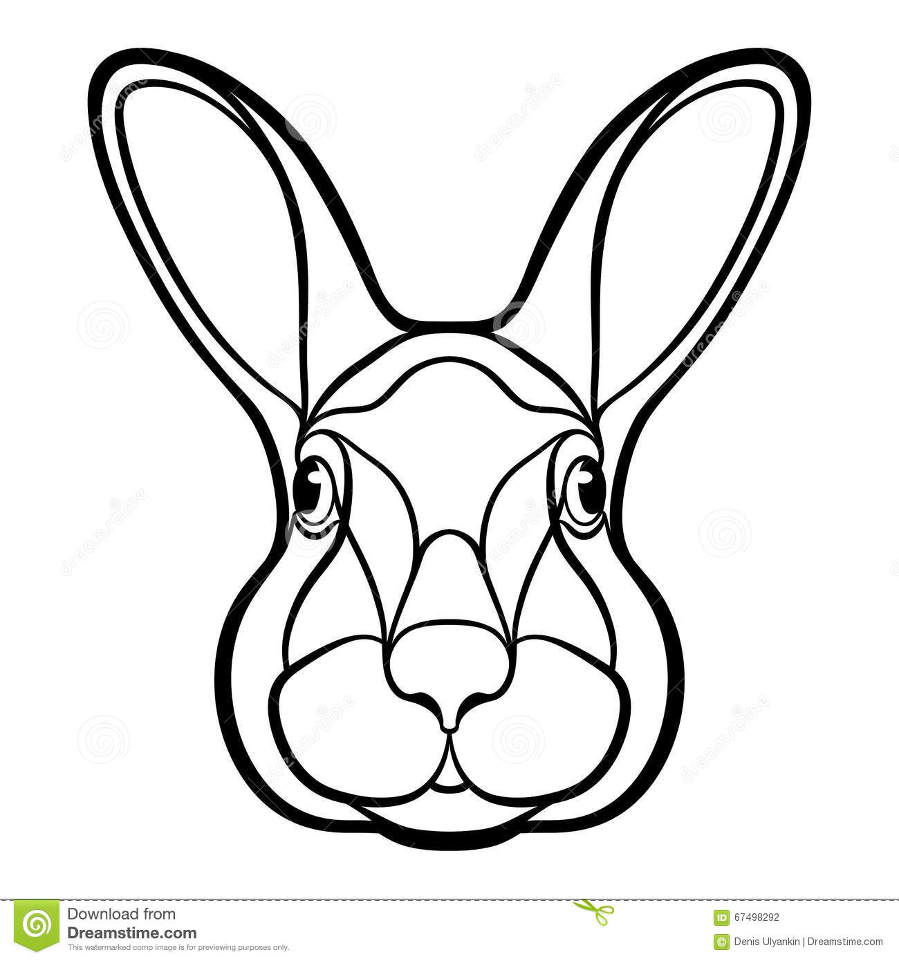 Head Of A Rabbit Hare Coloring Stock Illustration