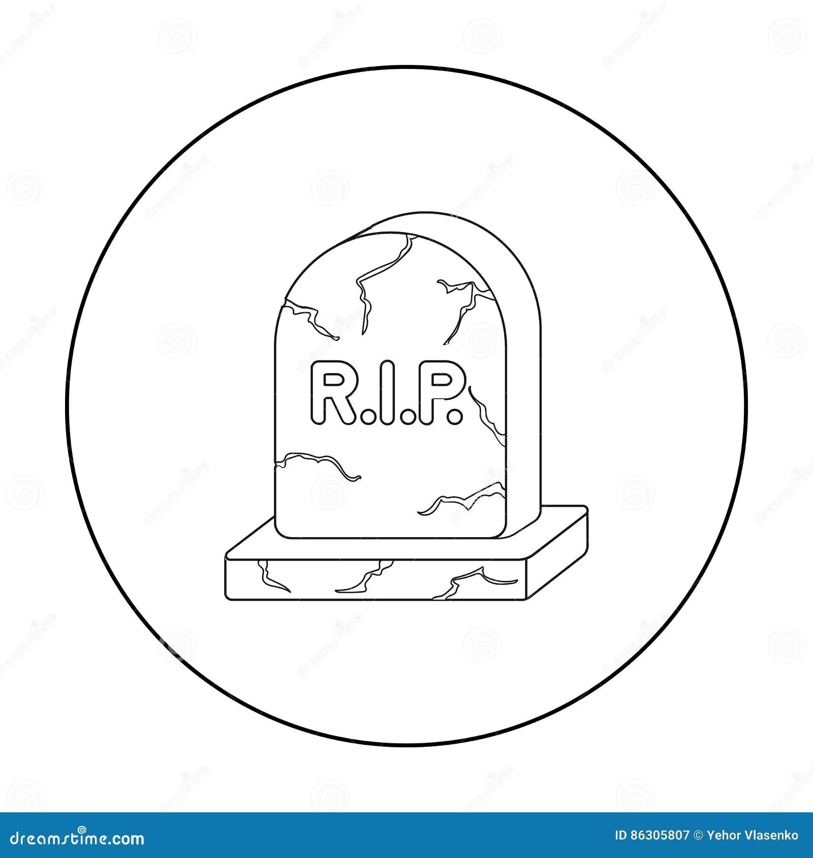 Tomb Headstone Icon Vector Illustration Cartoon Vector