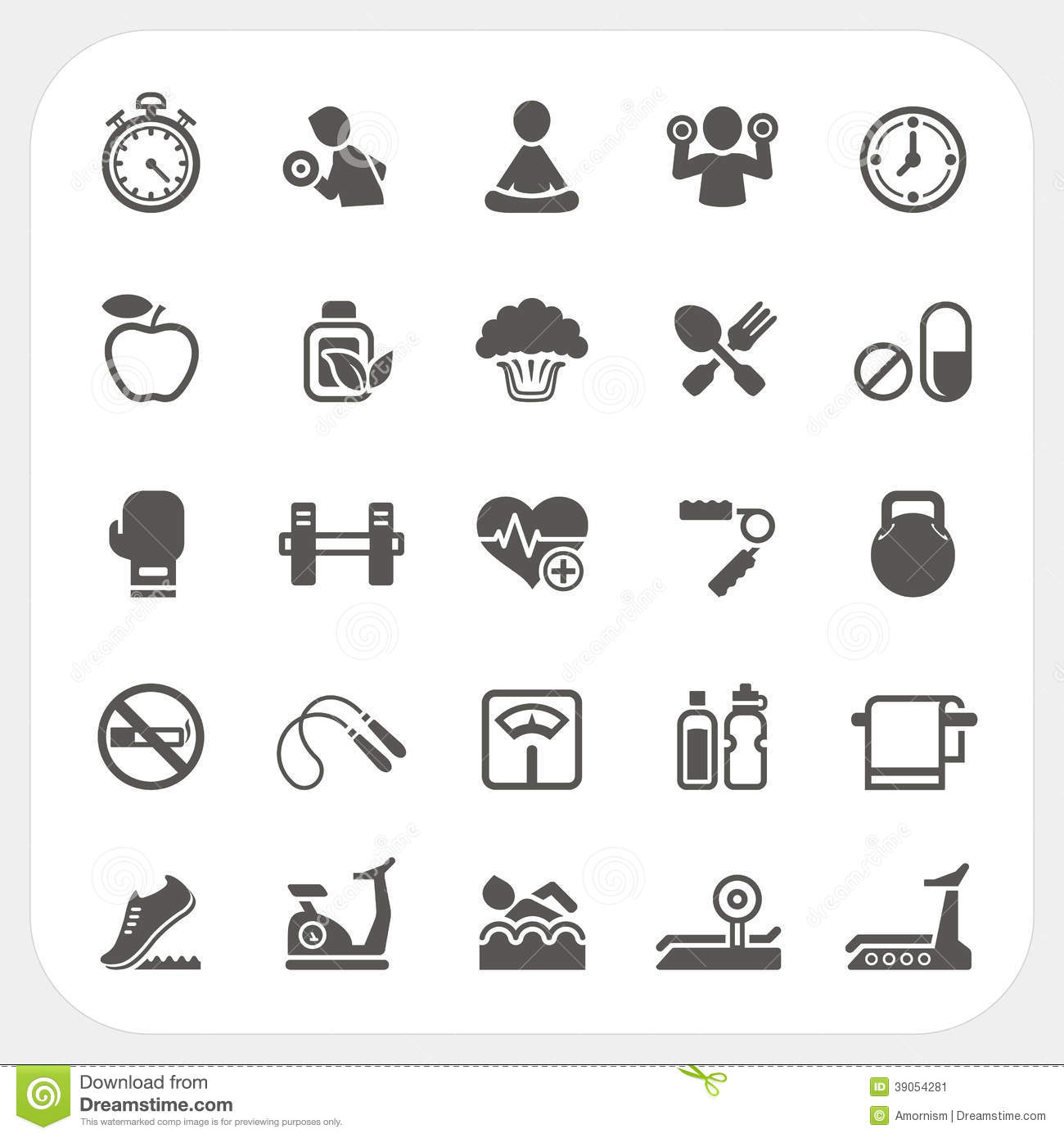 Health And Fitness Icons Set Stock Vector