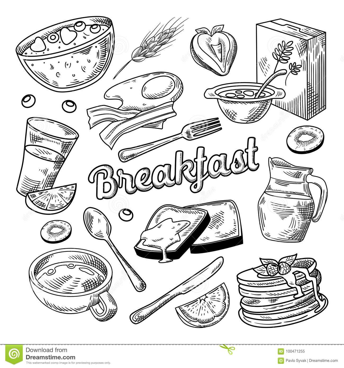 Healthy Breakfast Hand Drawn Doodle Food And Drink Sketch