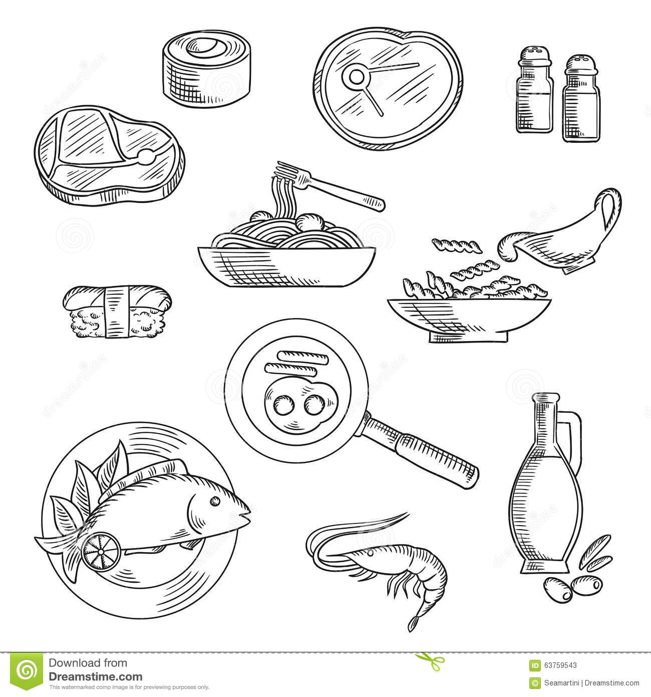 Healthy Breakfast And Lunch Sketched Icons Stock Vector