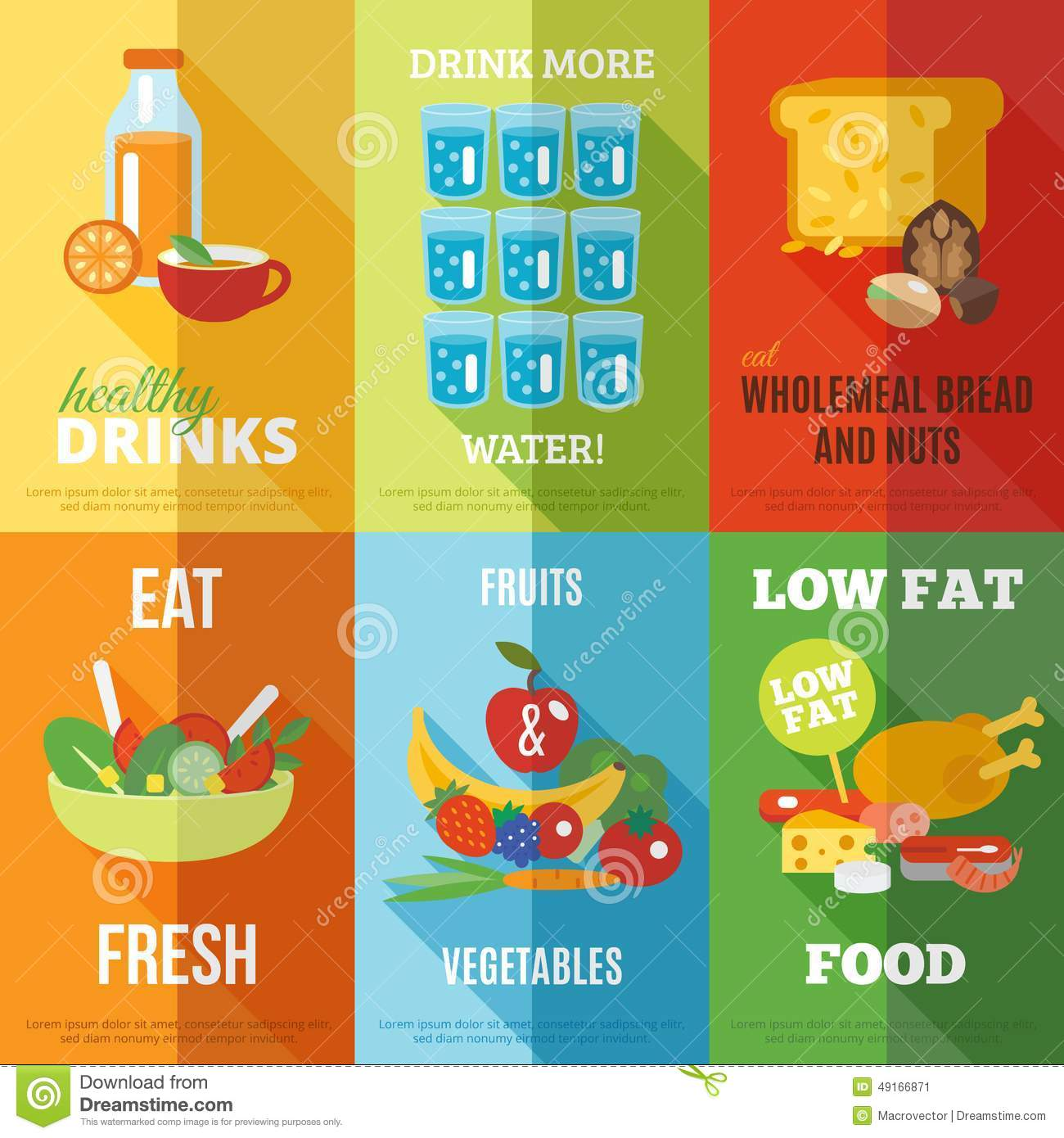 Healthy Eating Poster Set Stock Vector