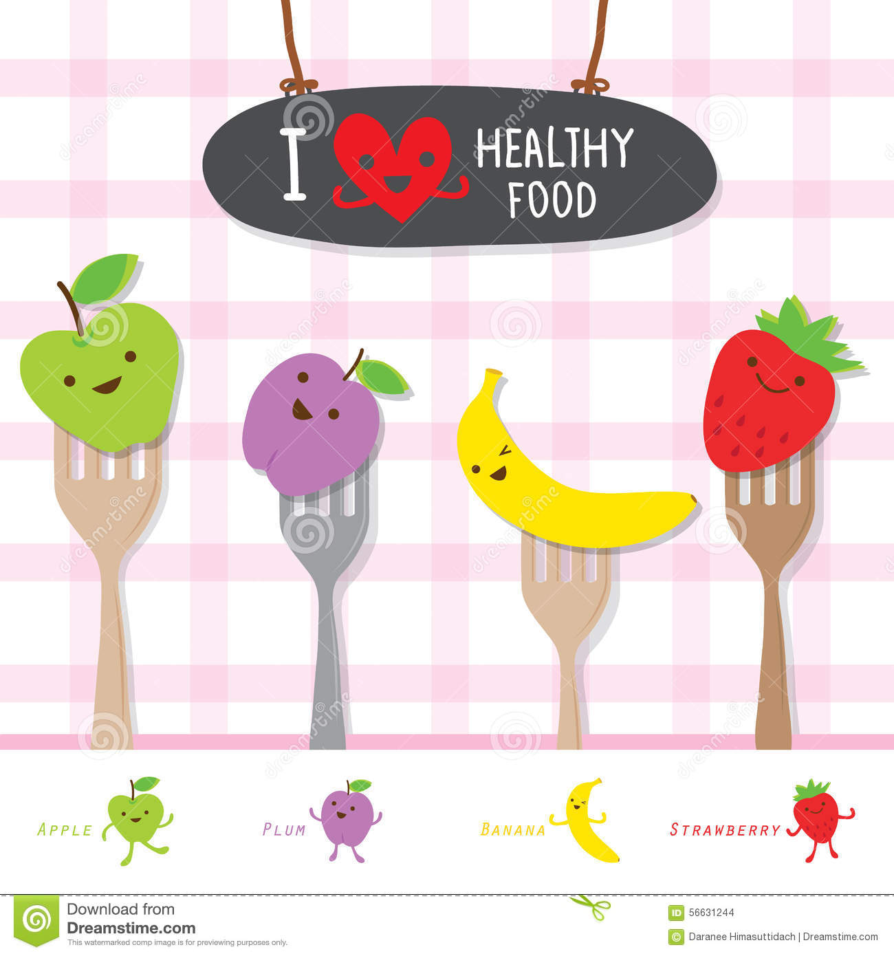 Healthy Food Fruitt Eat Useful Vitamin Cartoon Cute