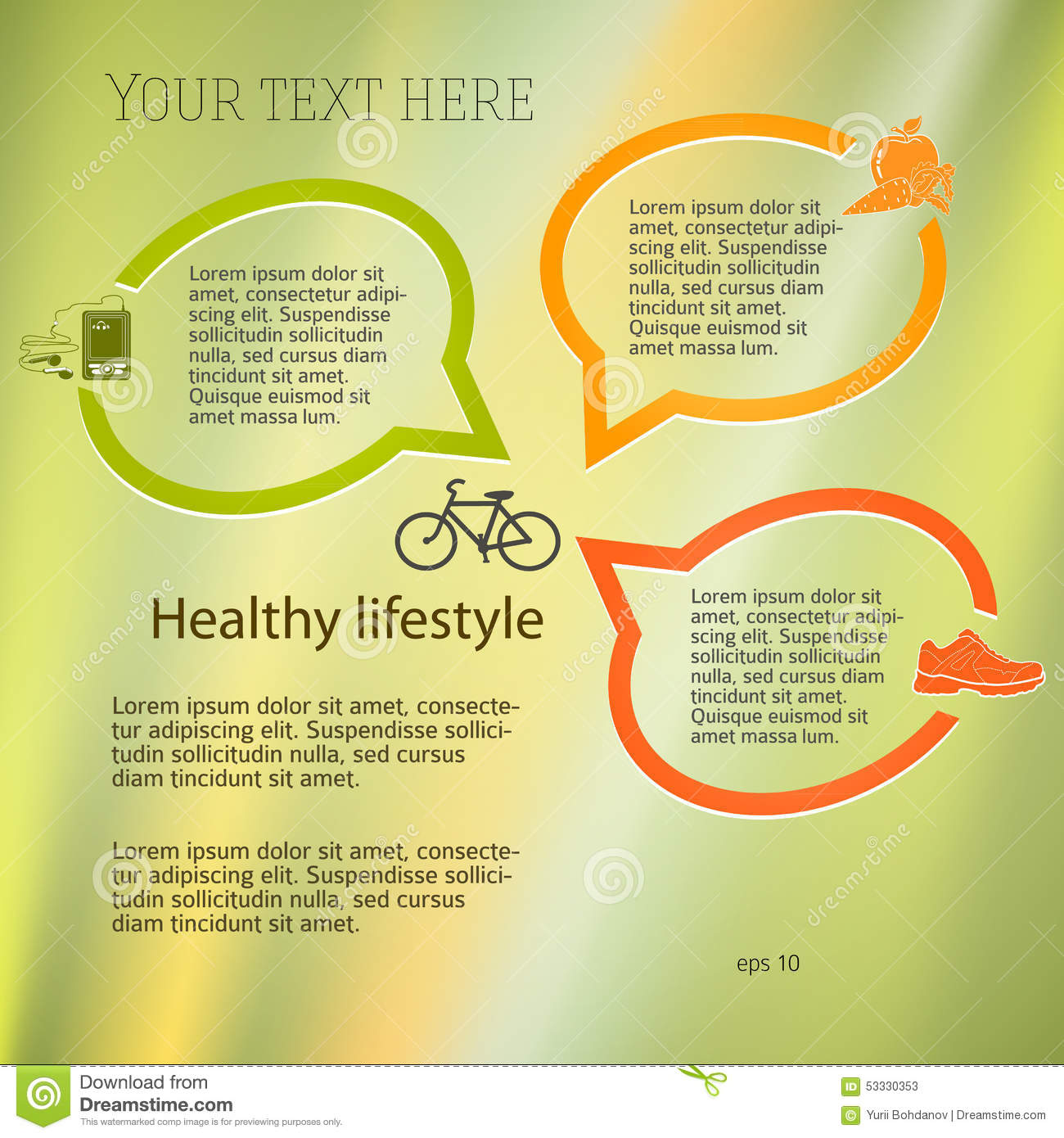 Healthy Lifestyle Concept Layout Leaflets Stock Vector