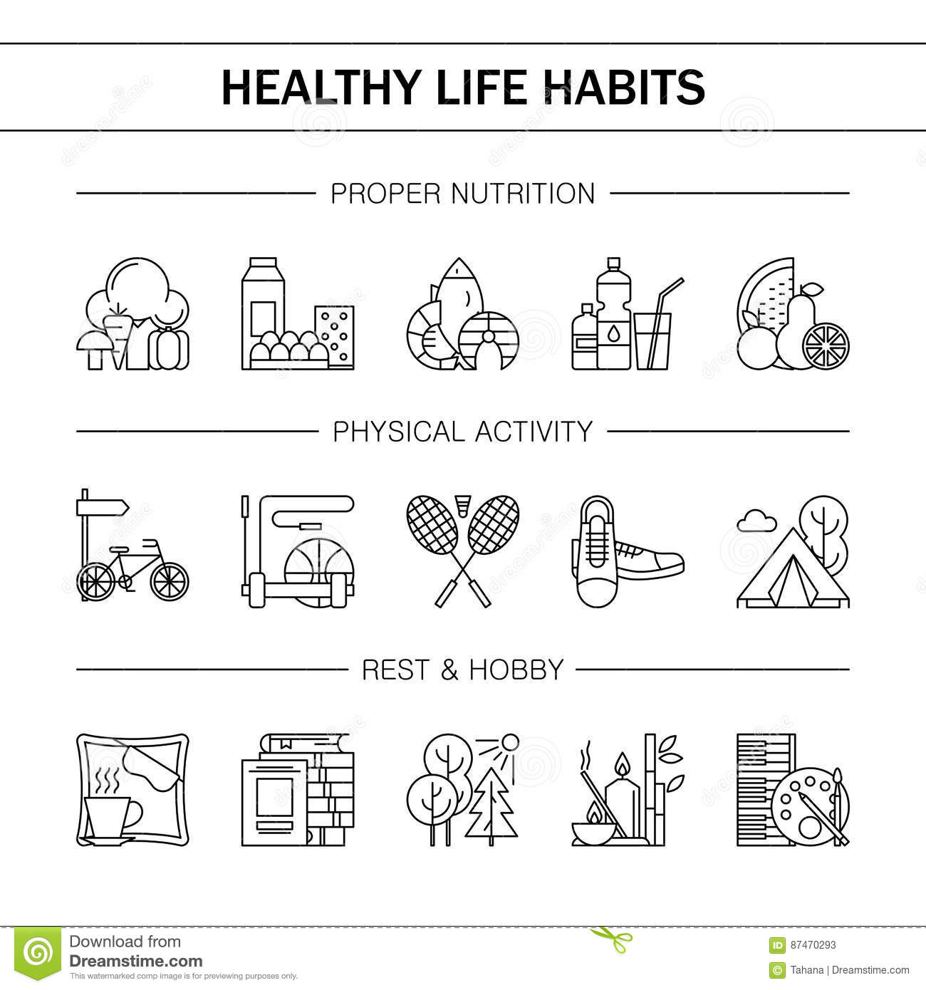 Healthy Lifestyle Habits Black And White Line Vector Icons