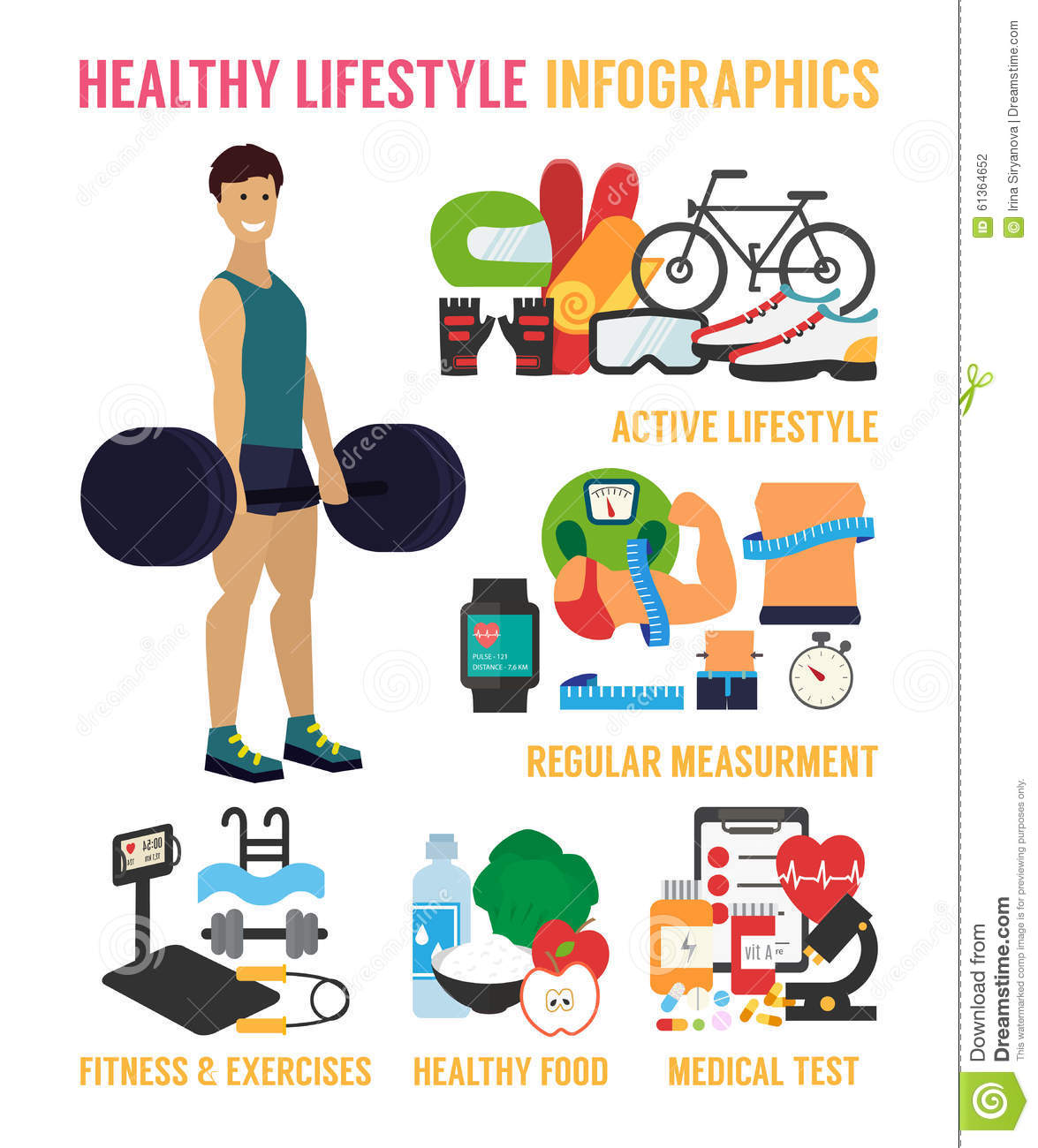 Healthy Lifestyle Vector Infographic Stock Vector