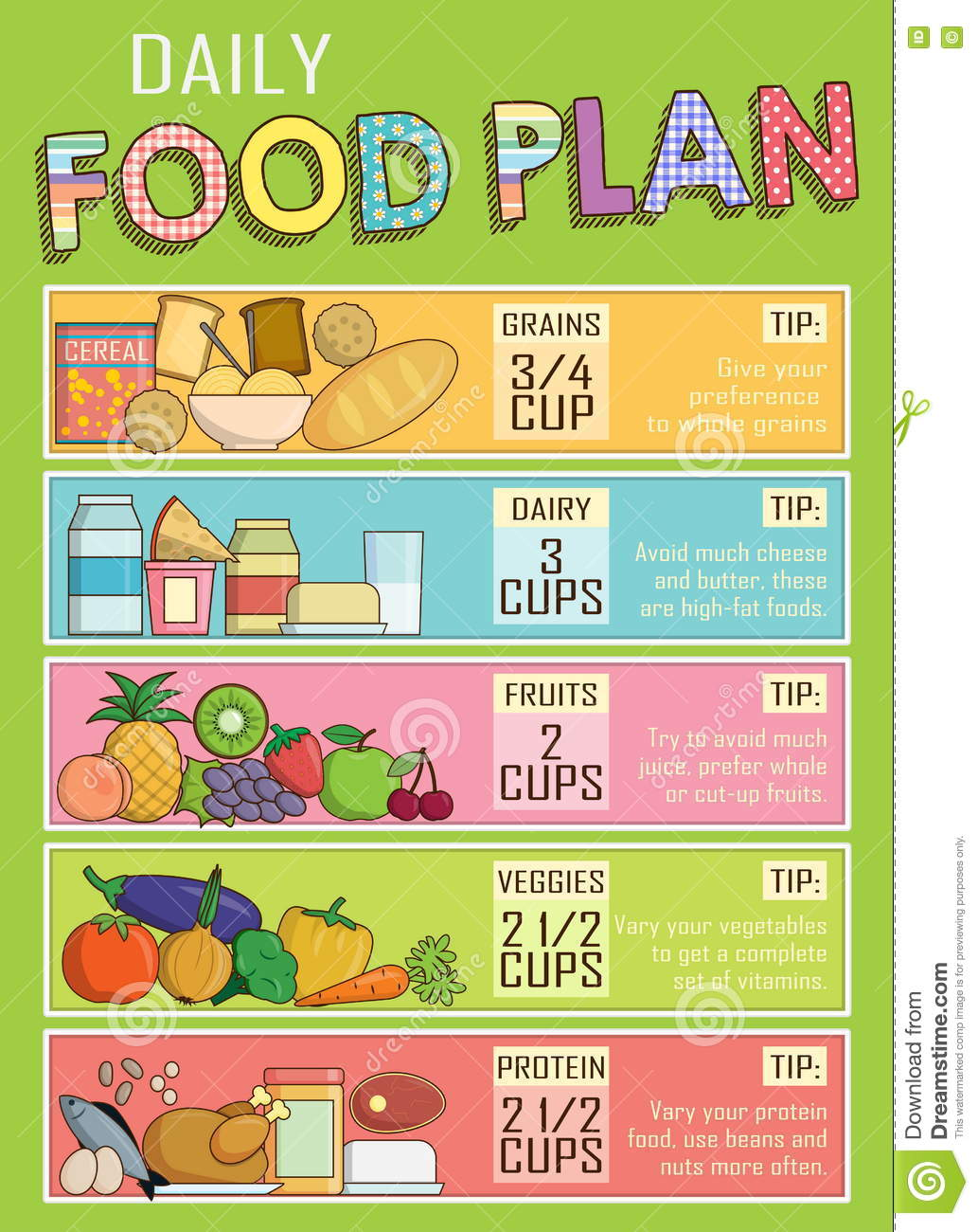 Healthy Daily Nutrition Food Plan Stock Vector