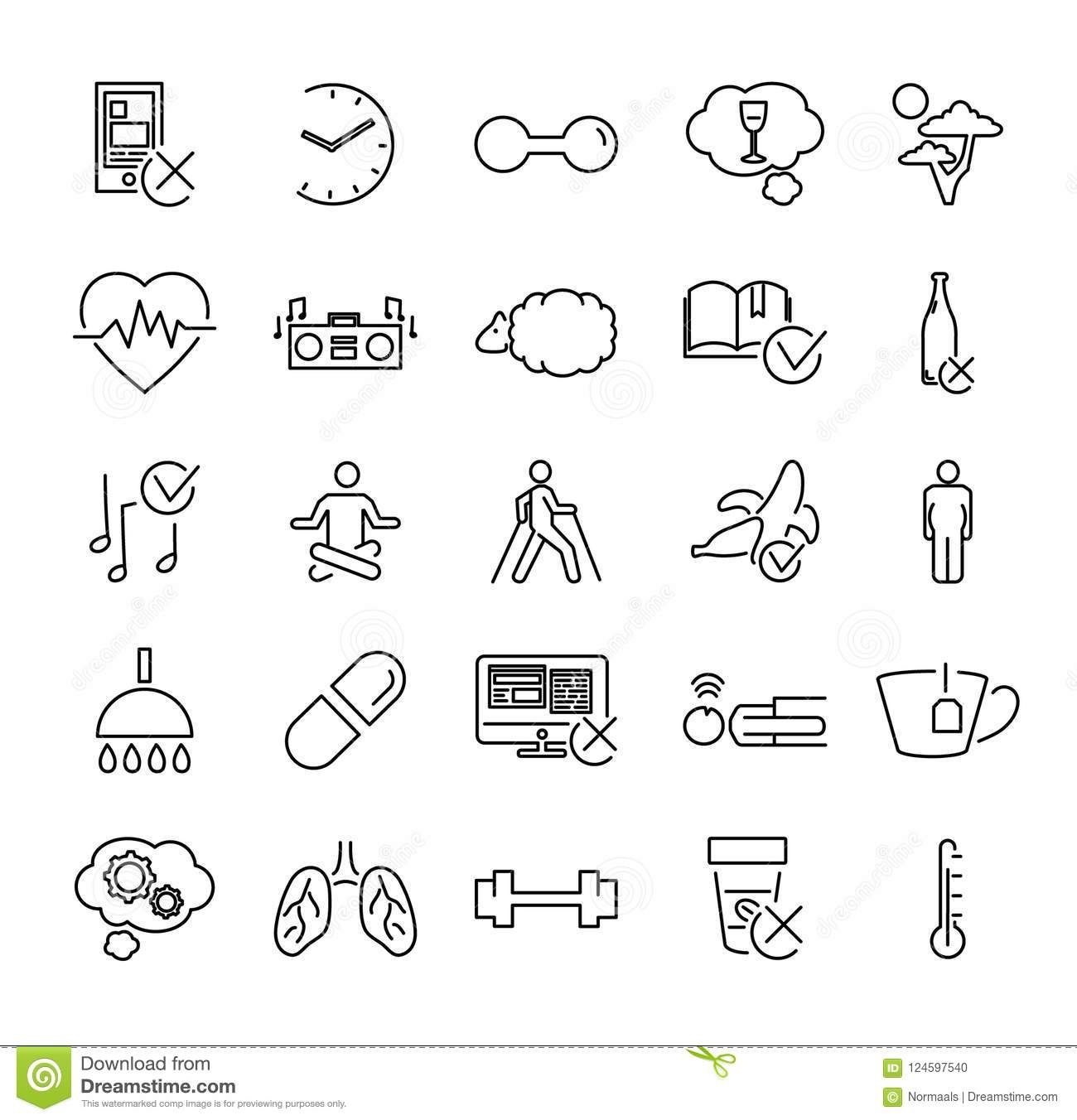 Healthy Or Problematic Sleep Vector Illustration Icon