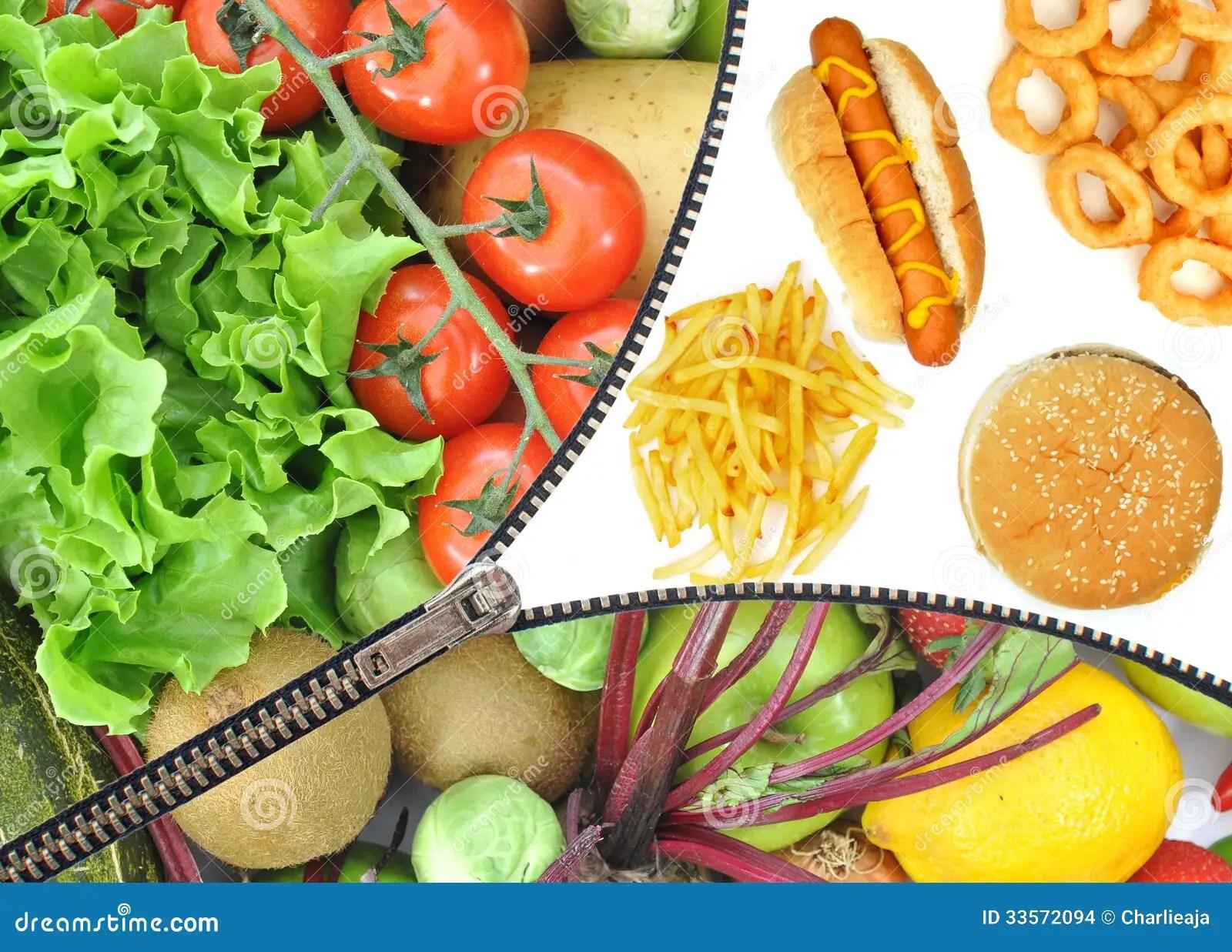 Healthy Or Unhealthy Food Choice Stock Photo