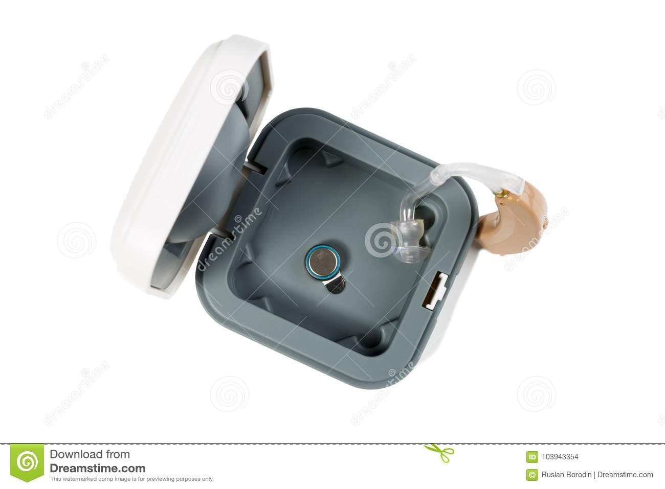 Hearing Aid Part In The Box Top View On White Isolated