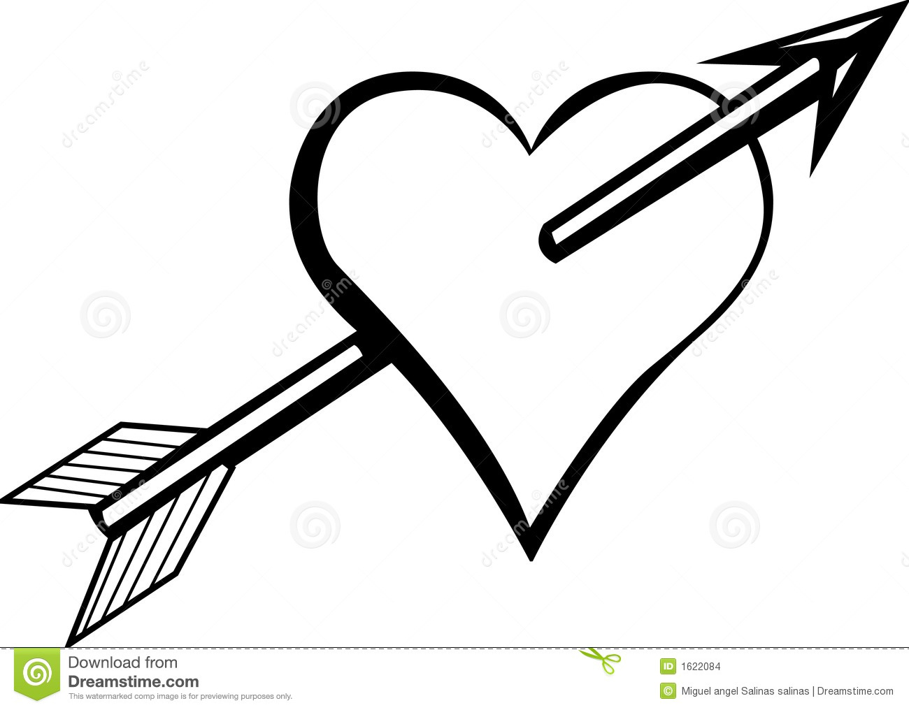 Heart With Arrow Vector Illustration Stock Vector