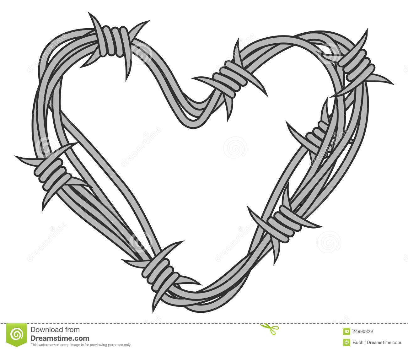 Heart In Barbed Wire Stock Vector Illustration Of Barb