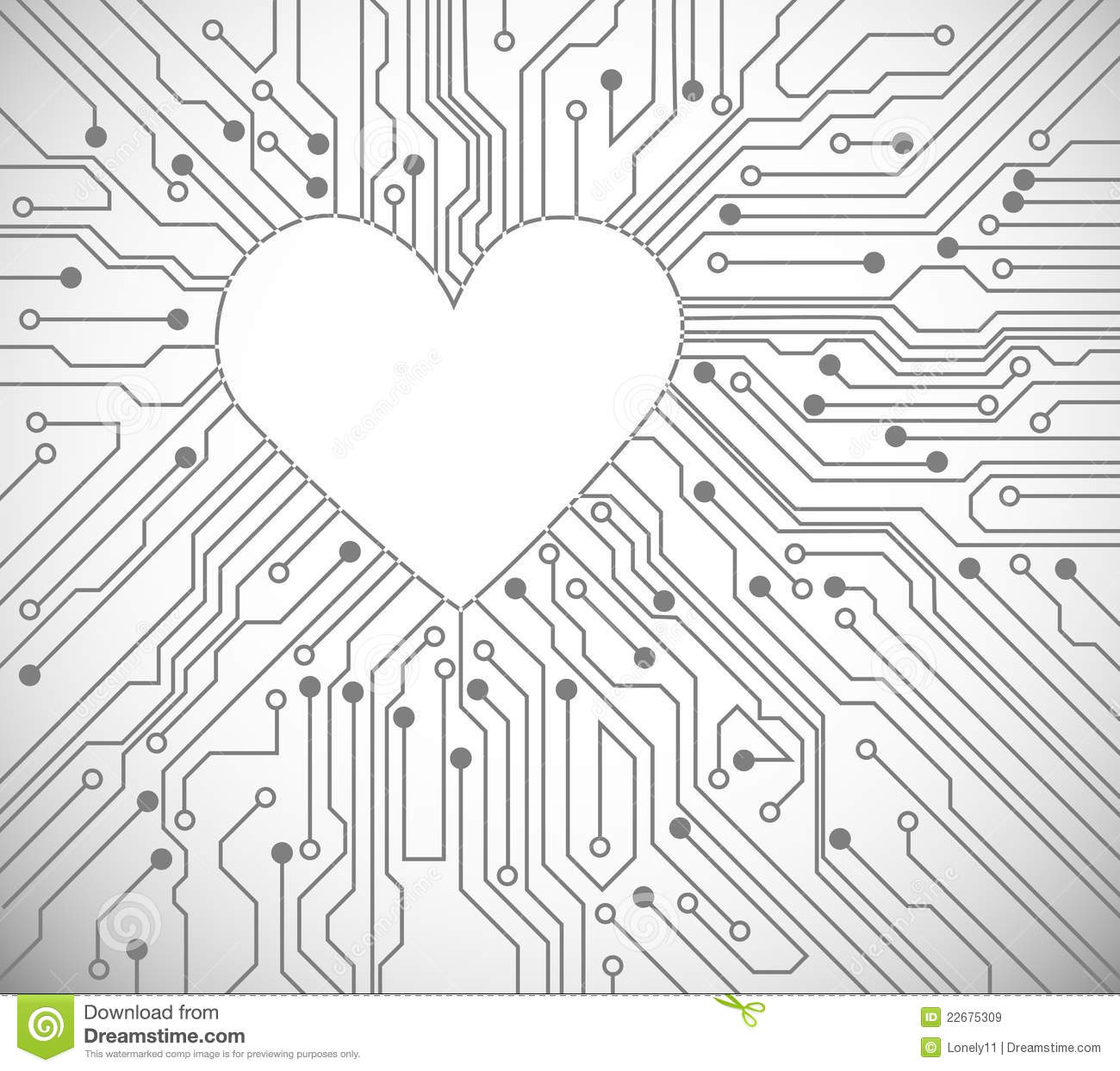 Heart From Circuit Royalty Free Stock Images
