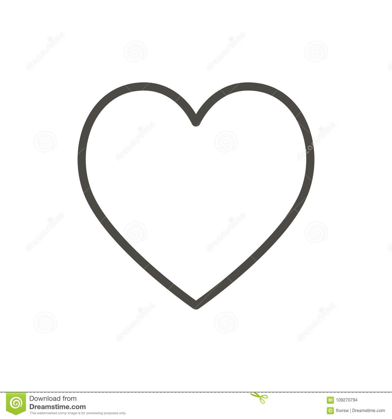 Heart Icon Line Vector Outline Love Symbol Stock Vector