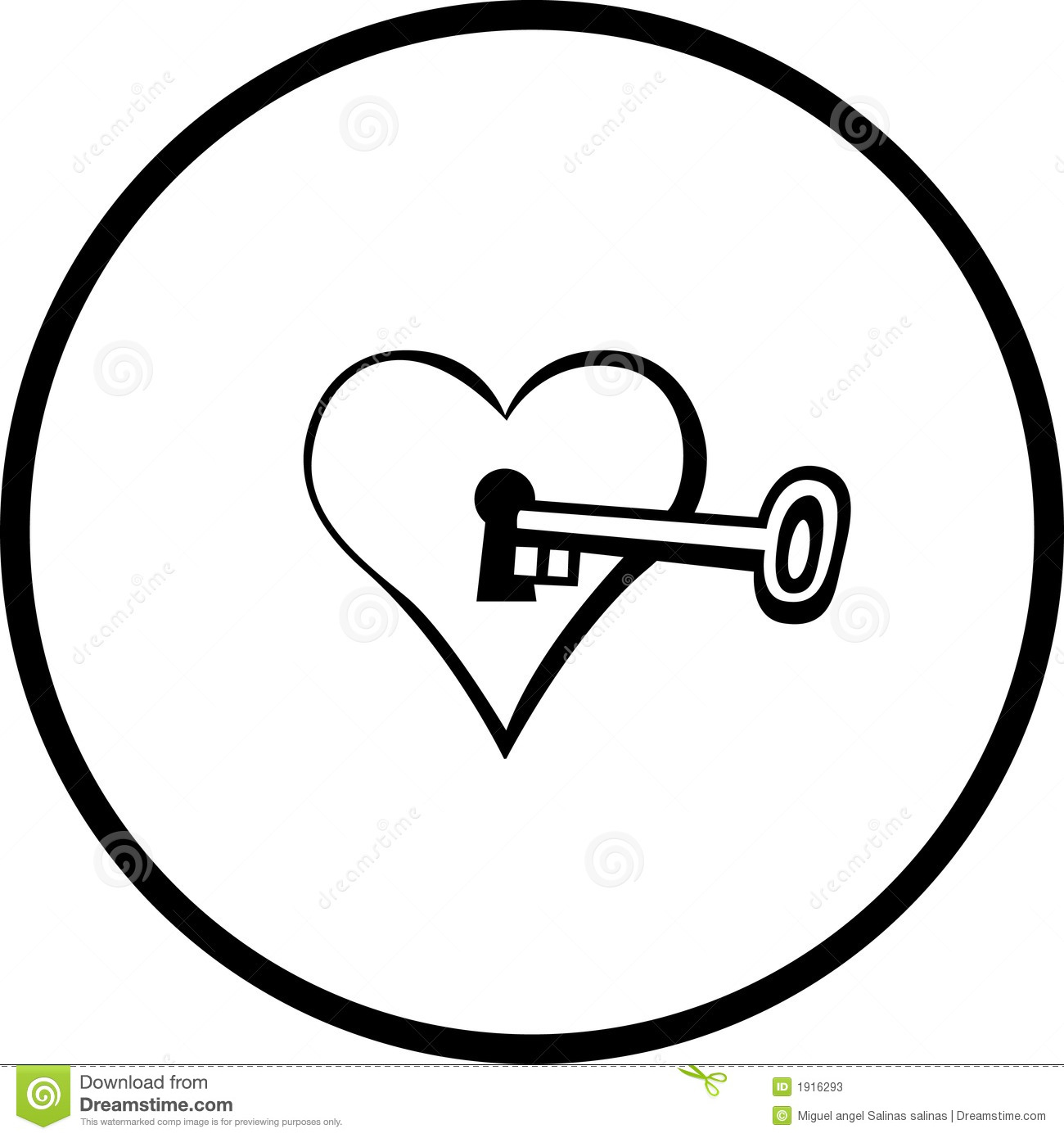 Heart With Keyhole And Key Vector Illustration Stock