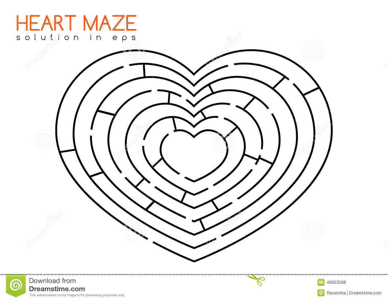 Heart Maze With Solution Stock Vector