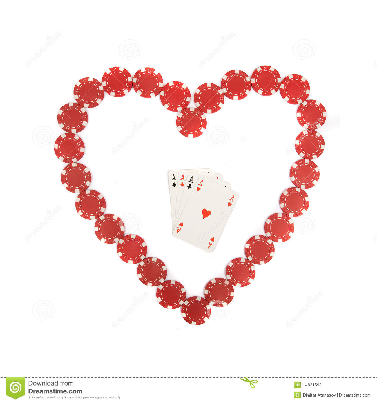 Heart Shape With Four Aces Inside Royalty Free Stock