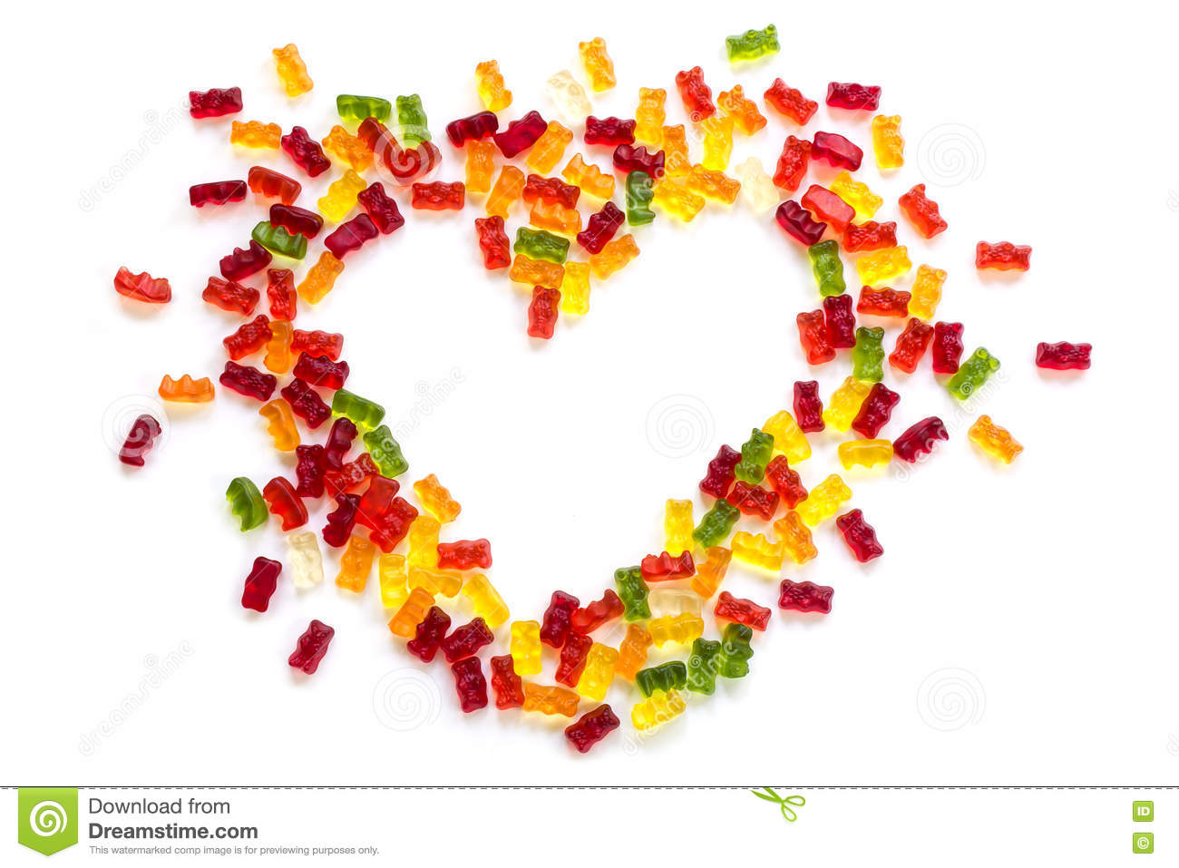 Heart Shape From Gummy Bears On A White Background Love