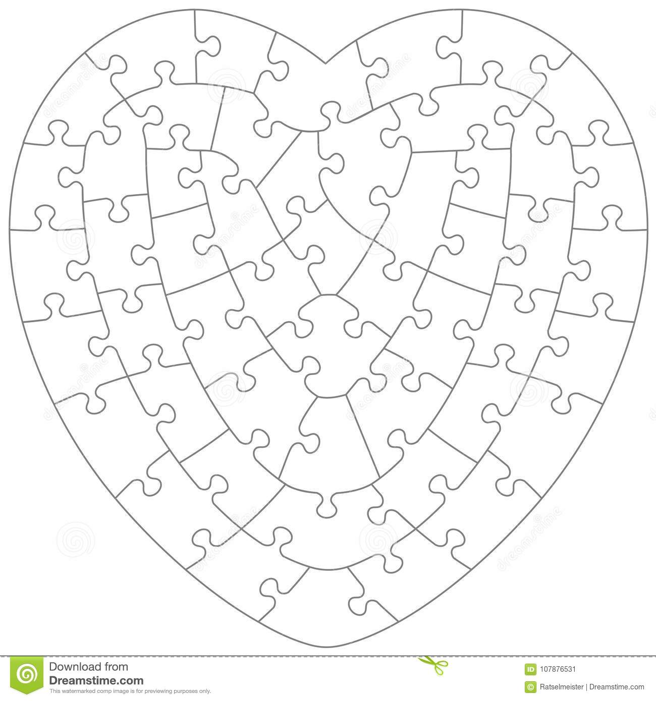 Heart Shaped Jigsaw Puzzle Template Stock Vector