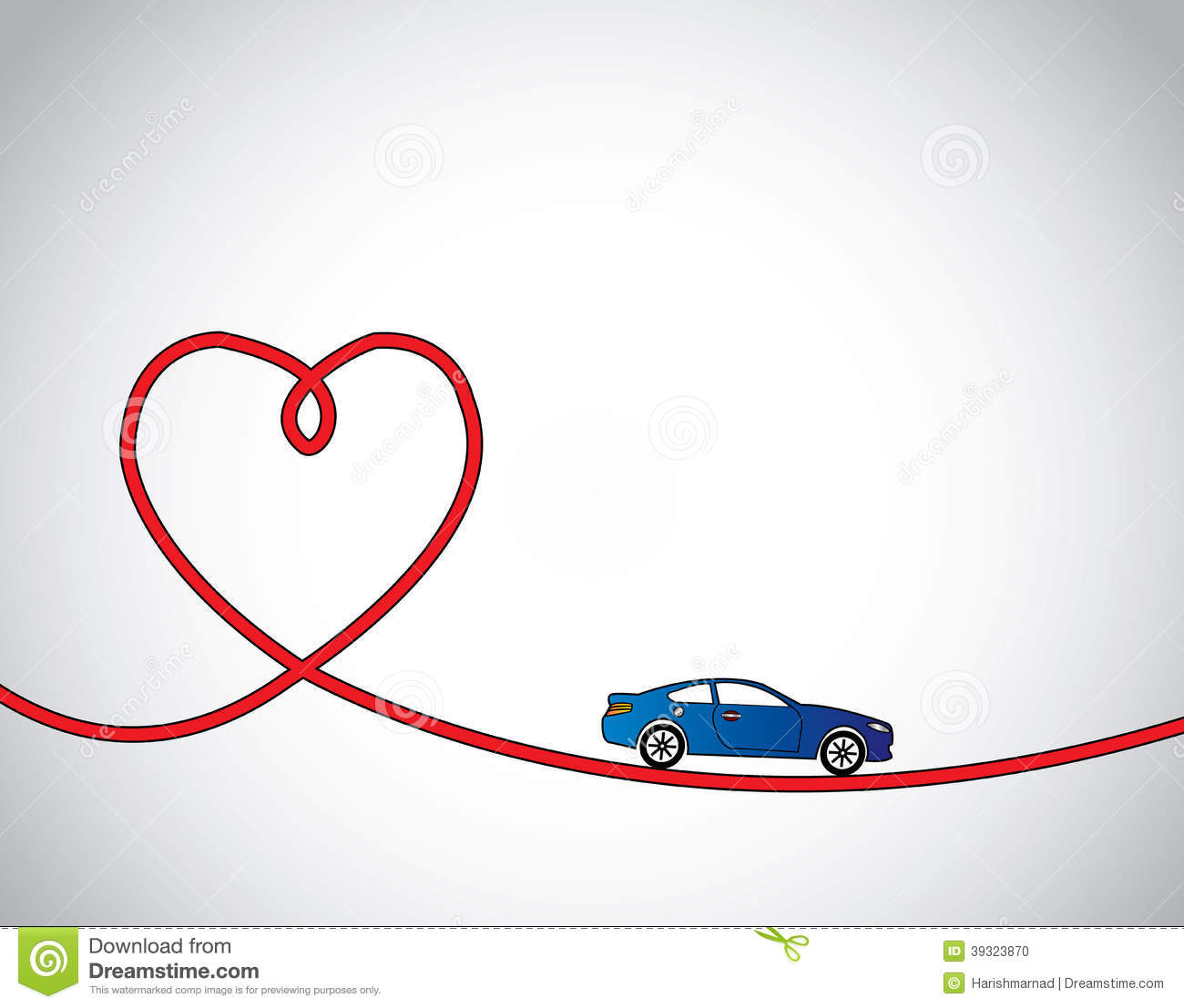 Heart Shaped Road Amp Blue Car Love Driving Stock Vector