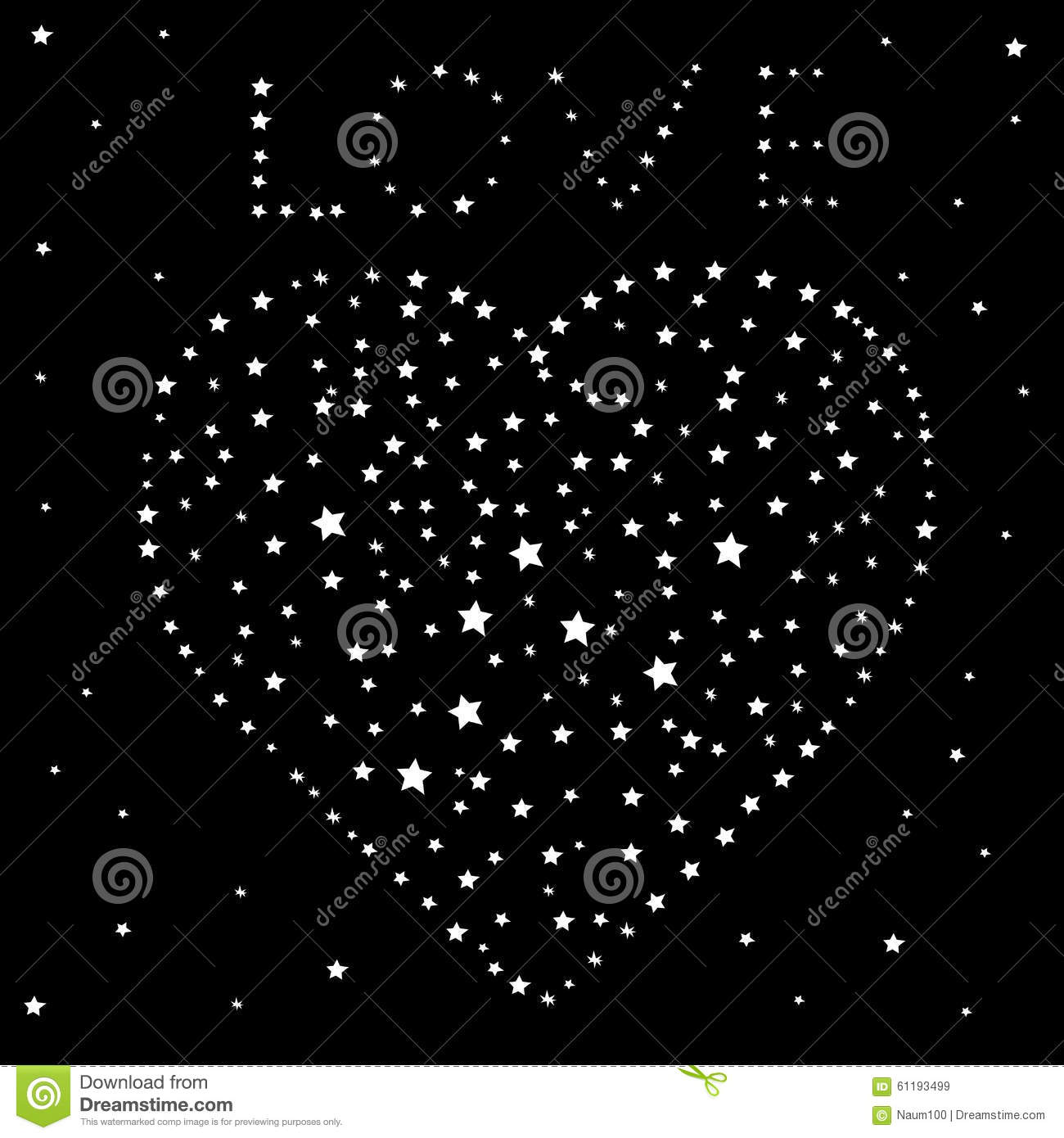 Heart And The Word Love Of The Stars On A Black Night Sky Stock Vector