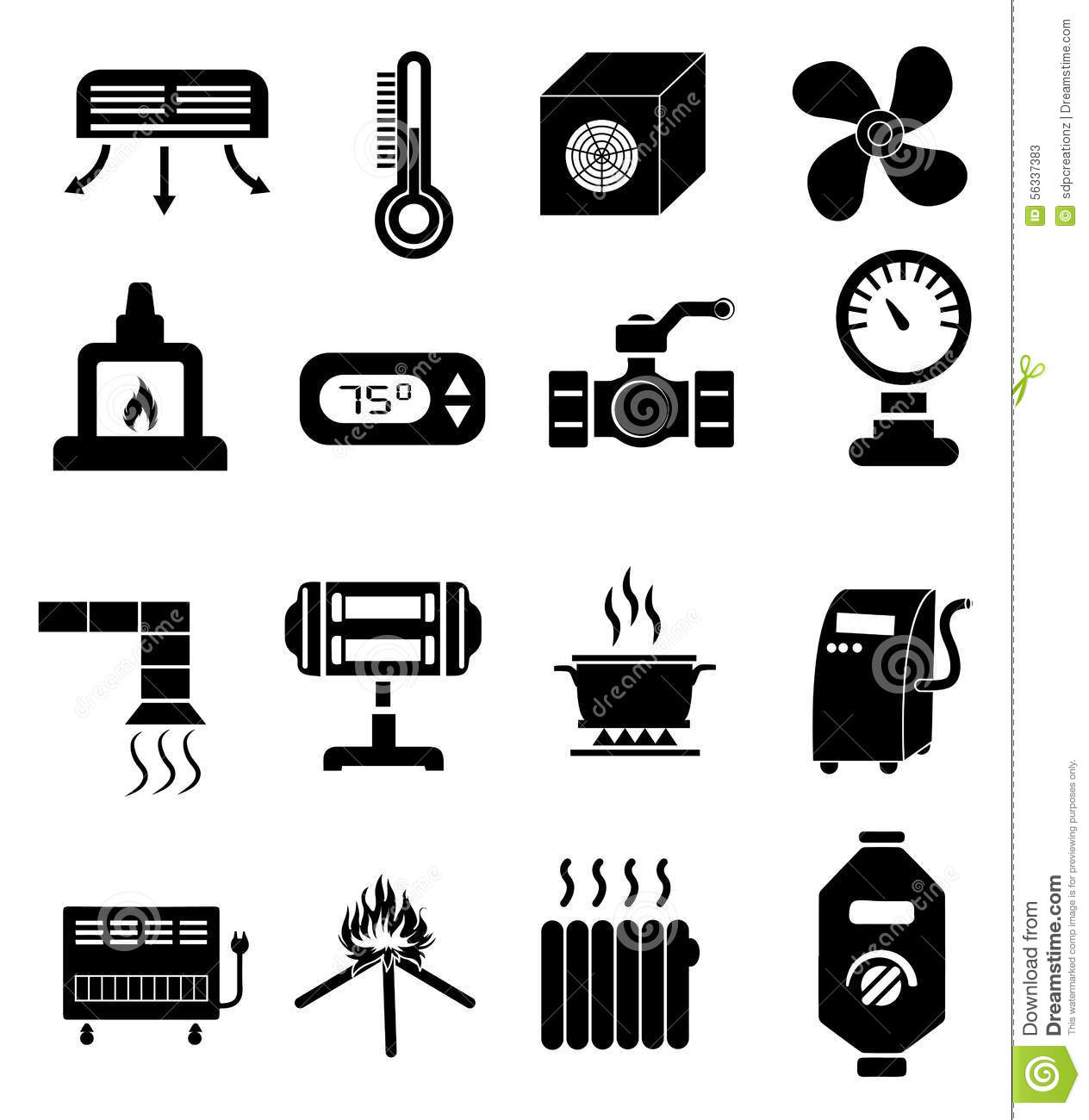 Heating Icons Set Stock Vector