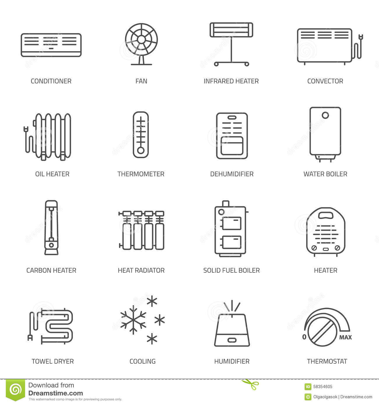Heating Ventilation And Conditioning Icons Set Stock