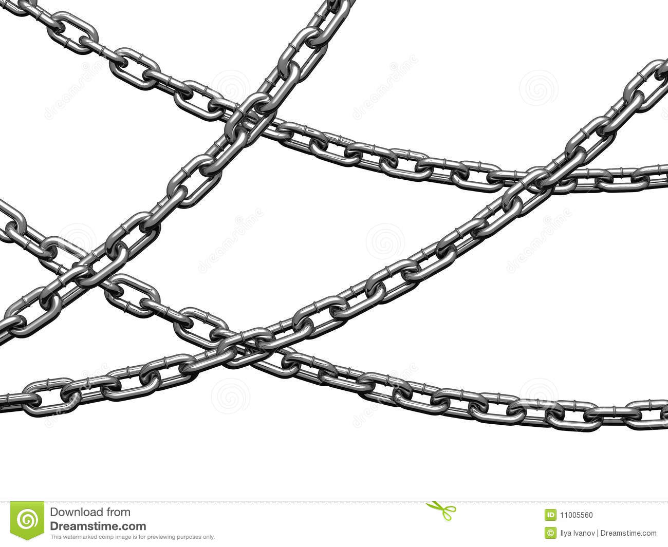 Heavy Chains Hang Curved Stock Photo