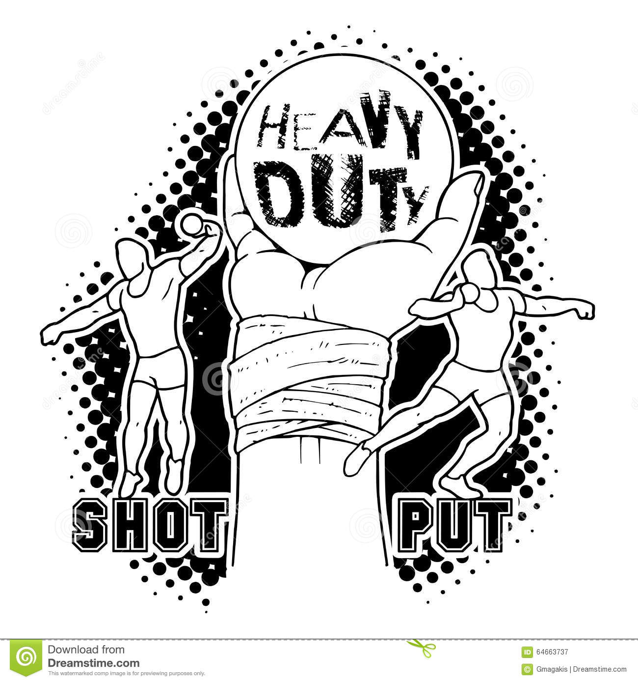 Shot Put Discus Hammer And Javelin Throw Vector Illustration