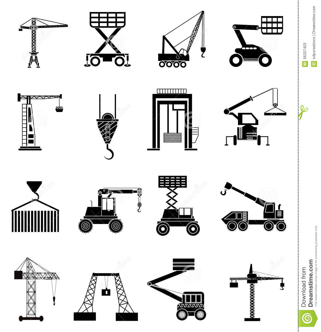 Heavy Lifting Machines Icons Set Stock Vector