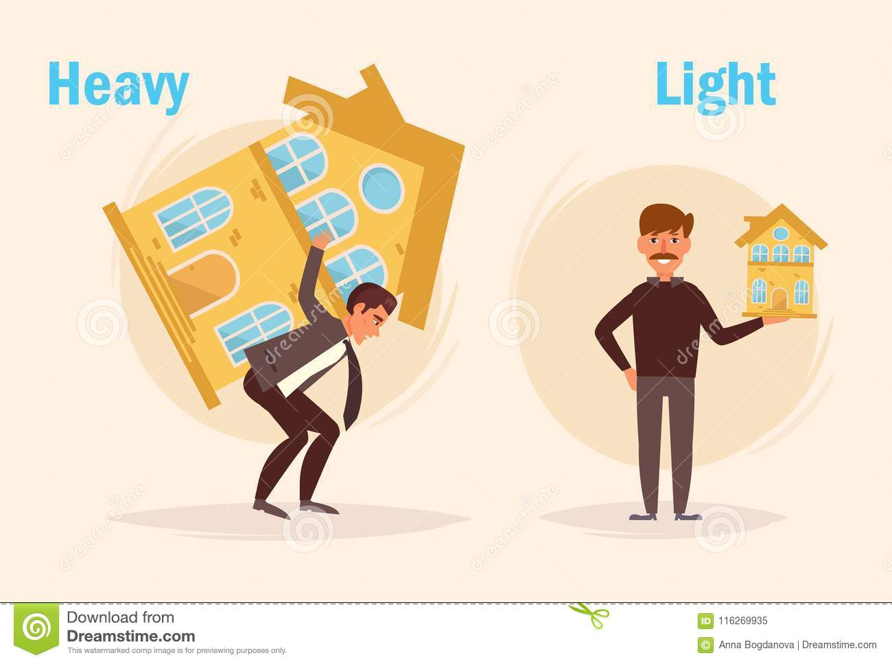 Heavy Light Opposite Stock Vector Illustration Of Loan