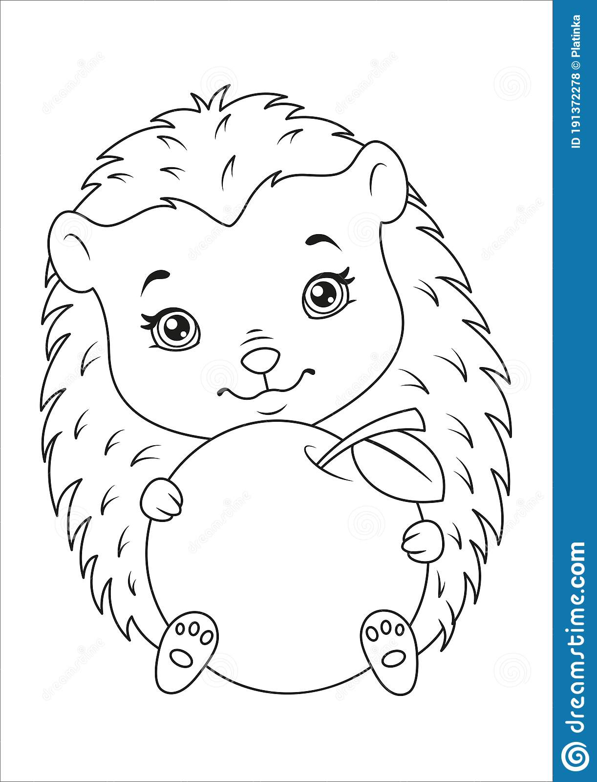 Hedgehog With Apple Coloring Page Stock Vector Illustration Of Cartoon Color 191372278
